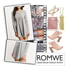 """""""Romwe: Grey Dress"""" by ladygroovenyc ❤ liked on Polyvore"""