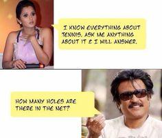 Rajnikanth ask Sania Mirza question .. Sania Mirza Jokes, Rajnikanth Jokes