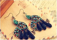 Vintage full rhinestone, peacock earrings, long earrings for women, jewelry hot sale, gift for her, peacock decoration by melindajewelrystore. Explore more products on http://melindajewelrystore.etsy.com