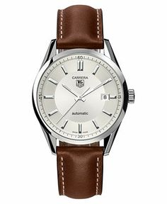 TAG Heuer Watch, Men's Swiss Automatic Carrera Brown Leather Strap 39mm WV211A.FC6203 - TAG Heuer - Jewelry & Watches - Macy's