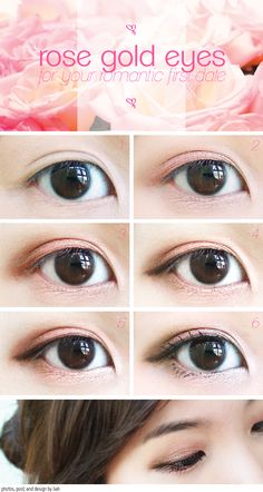 Rose Gold Eyes tutorial, saving this for later because when I put on eyeshadow you can never see it due to my asian eyes!