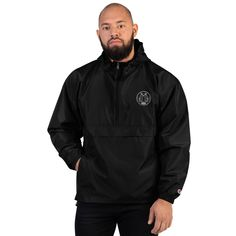 Haitians Made Me Embroidered Champion Packable Jacket Marcel, Champion Jacket, Champion Brand, Packable Jacket, Half Zip Pullover, Embroidered Jacket, Black And Navy, Signature Logo, Have Time