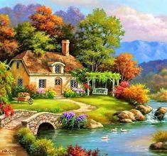 Paisajes in 2019 Beautiful Paintings, Beautiful Landscapes, Kinkade Paintings, Beautiful Places, Beautiful Pictures, Scenery Paintings, Image Nature, Cottage Art, Thomas Kinkade