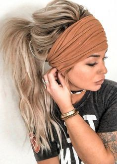 Blonde Hair Color Ideas For Summer Discover Cognac Scrunch Headband Extra Wide Headband Jersey Headband Turban Jersey Headband Boho Headband Boho head wrap (women teen girls) Cognac Scrunch Headband Extra Wide Headband Jersey Headband Boho Headband, Wide Headband, Short Hair Headband, Hair Headband Styles, Braids With Headband, Braided Headbands, Thick Headbands, Box Braids Hairstyles, Straight Hairstyles