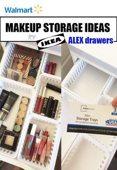 Walmart Makeup Storage Ideas for IKEA Alex Drawers - makeup storage with MainStays kitchen storage trays from Walmart fit perfectly in Alex drawers!