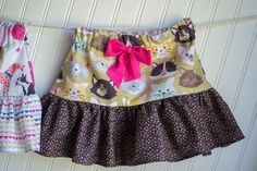 Free girls sewing pattern: Cute ruffled skirt with optional built in shorts from Sew Can She. Up to size 7/8