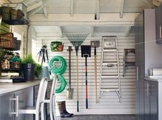 slat wall for an organized garage.since I dont have a garage maybe side of house would work? Garage Attic, Garage Shed, Garage Tools, Garage Ideas, Dream Garage, Car Garage, Garage Tool Organization, Garage Storage, Workshop Organization