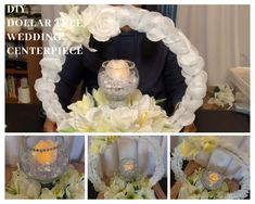 Hello, this is a DIY Dollar Tree wedding centerpiece. I mentioned that you needed more than one candle for this project. You can place candles around the bas. Dollar Tree Centerpieces, Tree Wedding Centerpieces, Dollar Tree Decor, Dollar Tree Crafts, Diy Centerpieces, Diy Wedding Decorations, Wedding Table, Graduation Centerpiece, Diy Wedding Crafts
