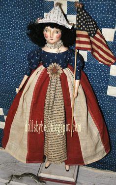 Primitive Americana Folk Art OOAK Handmade Paper Clay Doll...LIBERTY Featured in Prims Magizine Spring/Summer 2012