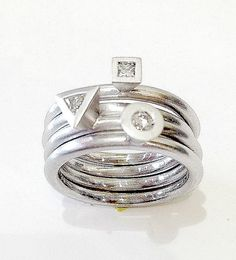 14kt White Gold Ring with Geometric Bezel and by HEARTWEARDESIGNS