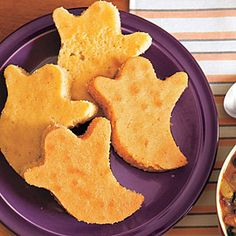 "Cornbread Ghosts--OP said, ""Make soup night fun by pairing a savory stew with a themed cornbread. We used a ghost cookie cutter for these Halloween-themed cornbreads, but you could use any cookie cutter on hand to celebrate holidays or seasons, as needed."""