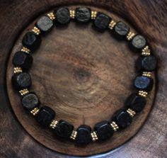 Black and Gold Wood Bead Bracelet by WoodYouWear on Etsy, $8.00