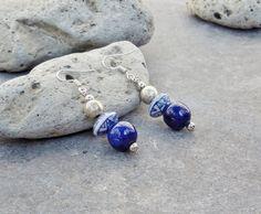 Elegant Dangle Earrings, Dutch Delft Blue Ceramic, White Blue Bohemian Jewelry, Boho Drop Earrings, African Ethnic Jewelry Gift for Her