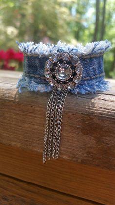 Denim Tassel Bracelet with Bling by DenimReDooz on Etsy