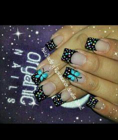 pintado de uñas con diseño de flores y mariposas - Buscar con Google                                                                                                                                                     Más Manicure And Pedicure, Toe Nails, Hair Beauty, Nail Art, Turquoise, Hair Styles, Nail Stuff, Bb, Google