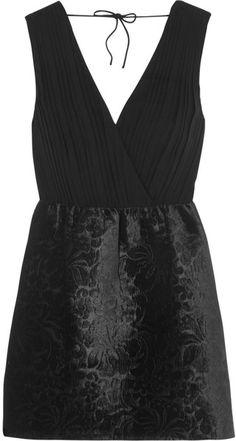 ALICE + OLIVIA Riva Silkcrepe and Embossed Velvet Mini Dress