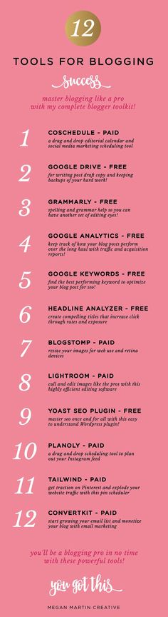 the best tools for blogging success you need now on Megan Martin Creative blogger tips #wordpress blog seo tips blogstomp coschedule yoast lightroom google keyword planner google adwords for blogging grammarly writing blog posts tips for bloggers