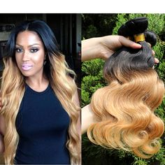 Hot Ombre Hair Extensions 5A Brazilian remy Hair Body Wave Queen Hair Products Two Tone #1B/27 Human Hair Weaves Free Shipping
