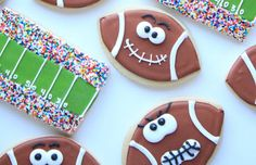 The perfect Super Bowl snack game face football cookies - football and field cookies.h