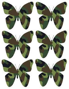 GREEN CAMO BUTTERFLY kids room nursery wall decals by decampstudios, $15.19