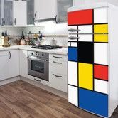 Would love to cover up my ugly refrigerator!  Found it at Wayfair - Domo Pop Mondrian Wall Decal