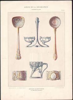 1900-Lithographie-Dessins-d-039-orfevrerie-art-nouveau-album-de-decoration-couverts