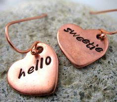 Hello Sweetie Copper Earrings - Doctor Who Hand Stamped by foxwise
