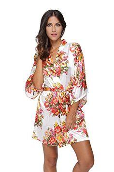 d5295da34e Women s Sleep   Loungewear - CostumeDeals KimonoDeals Women s dept Satin  Short Floral Kimono Robe for Wedding Party at Women s Clothing store