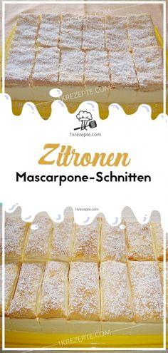 """Geschmacklich erinnern meine Zitronen-Mascarpone-Schnitten etwas an die """"Kinder Paradiso"""", nur dass meine einfach viel besser schmecken. Leichtes, dünnes Zitronenbiskuit mit feiner Mascarpone-Zitronencreme. Zudem sind diese Schnitten auch noch schnell zubereitet. Zutaten und Zubereitung für einen Backrahmen von ca 28 x 17 cm Zuerst für die Creme 500 gr Mascarpone mit 1 TL Zitronenabrieb, 2 EL Zitronensaft, 100 gr Staubzucker und 2 Pkg Sahnesteif cremig aufschlagen. Danach vorsichtig 1 Becher…"""