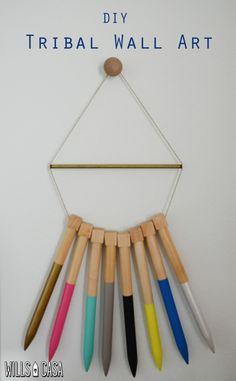 Tribal Wall Art from oversized knitting needles--love this idea!