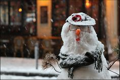 a snowman in paris