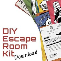 Transform your house into a real life escape room for your mates! The printable pack has all you need!