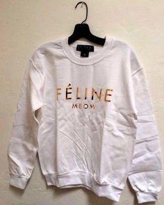 BLTEE Brian Lichtenberg FELINE MEOW white gold CREW NECK Sweatshirt *medium #BrianLichtenberg #Hoodie