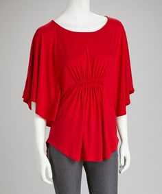 Love this Red Shirred Cape-Sleeve Top on #zulily! #zulilyfinds