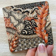 Lily's Tangles: Colorful tile and Zendala on Toned Tan paper.