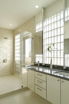 Whelan-Funston - Modern - Bathroom - San Francisco - John Lum Architecture, Inc. AIA.  interesting idea.  Lets in lots of light without exposing you to your neighbors.  I don't know what's up with the door to the outside in the shower though.
