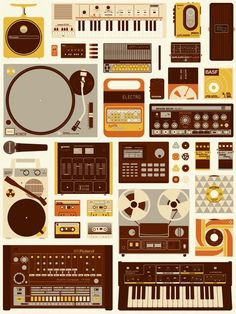 "Music producers, this one is for you. Burlesque Design's ""Tools of the Trade"" 18″ x 24″ screenprint. Visit BurlesqueDesign.com."