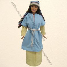 New Photo of Pastel Wife of Noah Blue and Yellow Dress Barbie Fashion Doll Outfit