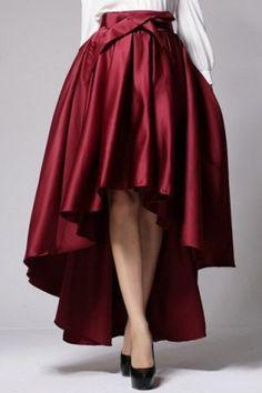 Stylish High-Waisted Bowknot Embellished High-Low Hem Women's SkirtVintage Skirts | RoseGal.com