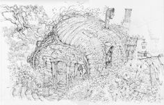 Line drawing for Hagrid's Hut