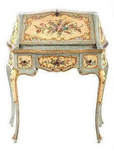 century painted desk, Italy-I wish I could paint furnit… - Diy Vintage Möbel Victorian Furniture, Italian Furniture, Retro Furniture, French Furniture, White Furniture, Unique Furniture, Shabby Chic Furniture, Office Furniture, Contemporary Furniture