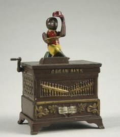 Cast Iron Organ Mechanica Bank - unattributed, ca 1881, marked on rear Pat. May 31, 1881.