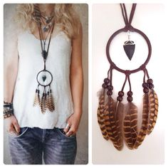 Making Dream Catchers, Dream Catcher Craft, Small Dream Catcher, Bohemian Bracelets, Bohemian Jewelry, Hippie Chic, Boho Chic, Collar Hippie, Dream Catcher Necklace