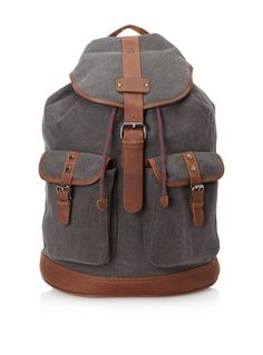 50% OFF Ted Baker Men\'s Newname Canvas and Leather Trim Rucksack (Grey)