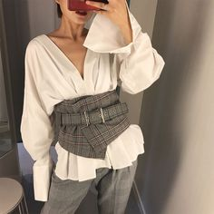 Fashion Ladies Vintage Check Style Waist Belt Super Wide Fabric Adjustable Shirt Slimming Corset Cummerbund Girdle Belt Women in 2019 Fashion Details, Look Fashion, Diy Fashion, Retro Fashion, Korean Fashion, Ideias Fashion, Fashion Dresses, Fashion Design, Fashion Trends