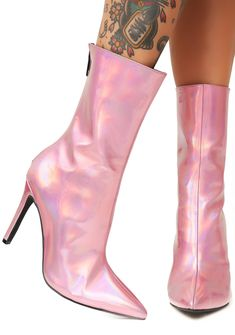 769f08d33bc9 Current Mood Cosima Hologram Boots will make ya the hottest galaxy gal  around. These pink holographic boots have back zipper closures and pointed  toes.