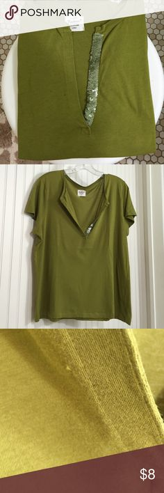 J. Crew Heirloom Tee J Crew 100% cotton Heirloom tee. Split collar has sequin trim on one side. Small hole near placket on right side. Hidden by collar folding open. Used condition from smoke free home. J. Crew Tops Tees - Short Sleeve