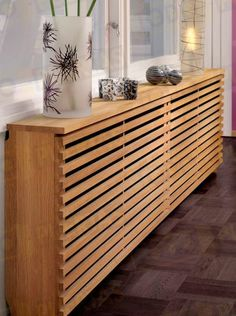 How to style up your Central Heating - Love Chic Living Modern radiator cover Modern Radiator Cover, Radiator Covers Ikea, Radiator Shelf, Baseboard Radiator, Radiator Ideas, Home Radiators, Modern Radiators, Baseboard Heater Covers, Wall Heater Cover