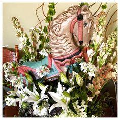 Horse Flower Arrangement | Carousel Wedding Theme | Custom Flower Arrangements | San Diego Florist | Rosemary Duff Florist