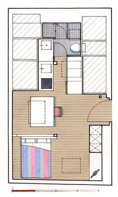 Studios and paris on pinterest for Plan amenagement studio 25m2